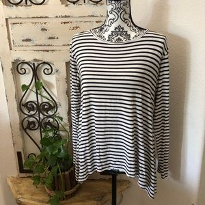 Cabi black and white striped top